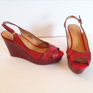 Nine West Red & Grey Trim Wedge Sling Backs Shoes